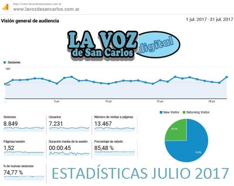 Estadísticas de www.lavozdesancarlos.com.ar provistas por Google Analytics (Usuarios, Visitas, Etc.)